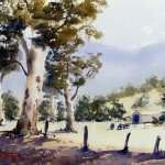 Australian farm watercolor landscape painting