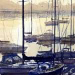 Coffs Harbor sailing boats at sunrise watercolor painting. Golden colors, sparkle on water with reflections of boats.