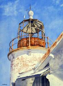 Old Crookhaven Heads Lighthouse watercolor painting