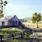 Farm shed with morning light and shadows watercolour painting