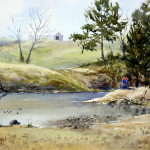 Watercolor painting of someone fishing on the Nepean River by Joe Cartwright