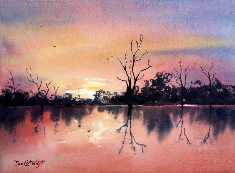 Lake Bonney Red Sunset Watercolor Painting South Australia