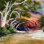 Ormiston Gorge Northern Territory watercolor painting. White river red gums with red hills in background and water reflections.