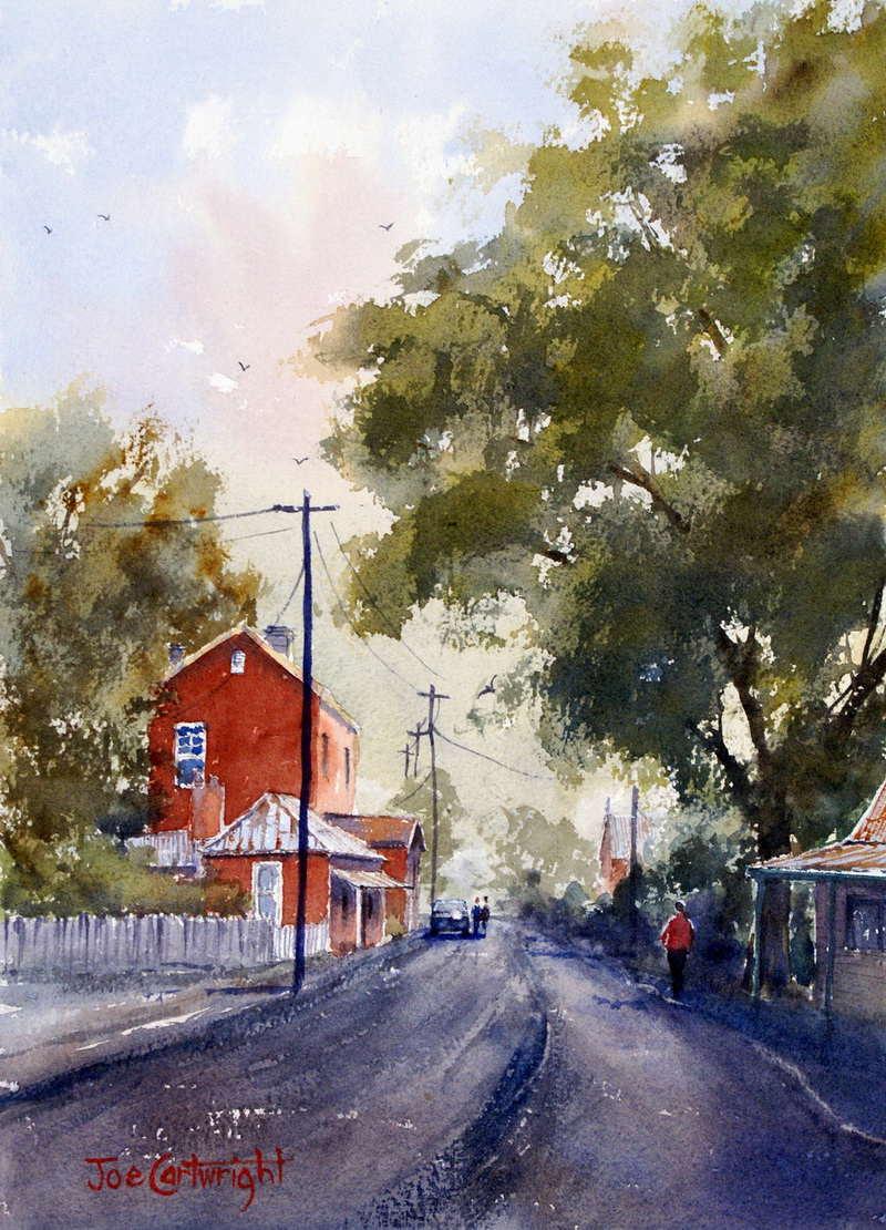 Akvarel.. - Page 6 Sofala-main-street-watercolor-painting