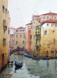 Venice textures watercolor painting