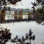 Victoria bridge towards Penrith watercolor painting