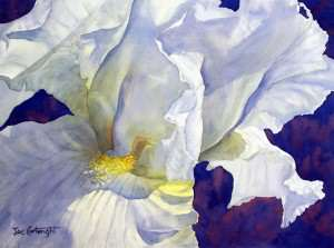 White Iris finshed watercolor flower painting