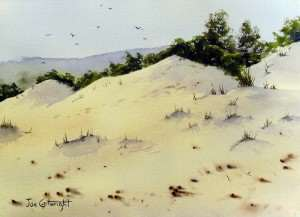 Finished watercolor sand dunes painting