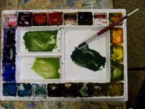 Mixing gum tree foliage colors with watercolor paints