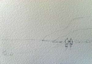 Drawing for simple painting of a seascape in watercolor