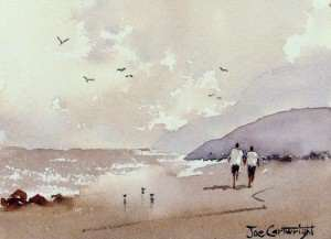 Finished watercolor painting of simple beach scene