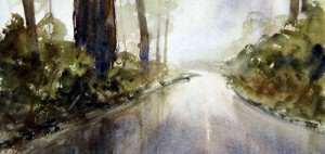 watercolor painting of green hillsides in rain, fog and mist