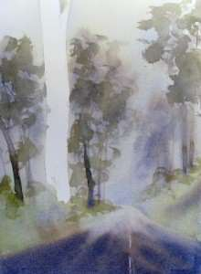 Watercolor painting rain fog and mist middle distance trees