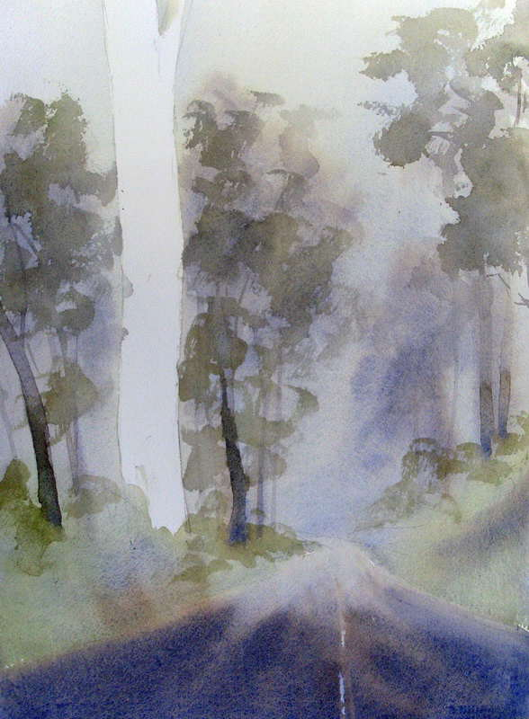 Dry Fog Painting : Watercolor painting of middle distance trees shrubs
