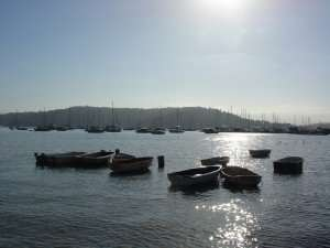 Row boats and sail boats at Pittwater, Sydney, Australia
