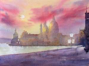 Painting the water in Venice with watercolor paints