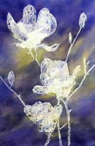 Once art masking fluid is dry lay down your watercolor wash