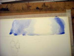 Add the Cobalt Blue and Alizarin watercolor mix to either side of the painted area