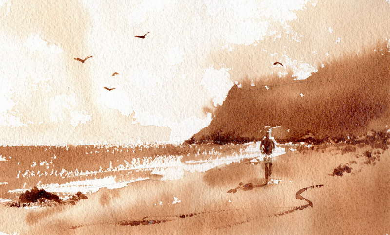 Paintings of Beach Scenes Scene Watercolor Painting