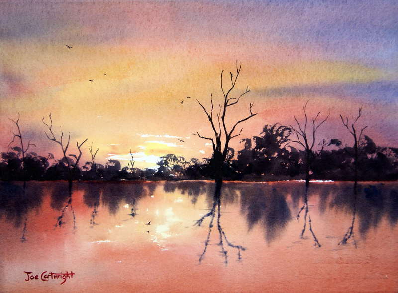 Sunset watercolor painting lake bonney painting with for Watercolor pictures to paint