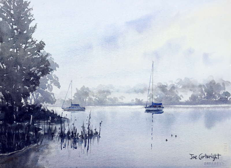 Watercolor Painting Of A Foggy Morning On A River