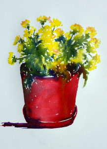 Painting of red flower pot and yellow chrysanthemums with watercolors