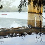 Reflections of Victoria Bridge Penrith by watercolour painting Joe Cartwright