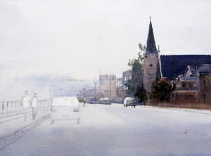 Watercolor painting the distant buildings