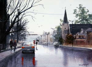Wet street with reflections watercolor painting by Joe Cartwright