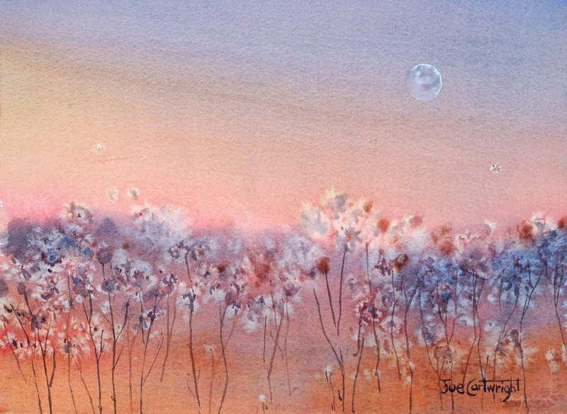 Easy Watercolor Painting Using Salt  - Simple Watercolor Painting Sunset Moon Using Salt