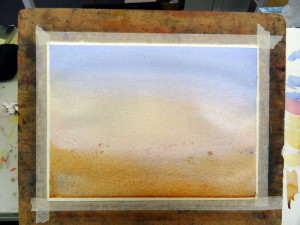 Sprinkle salt over wet watercolor painting.