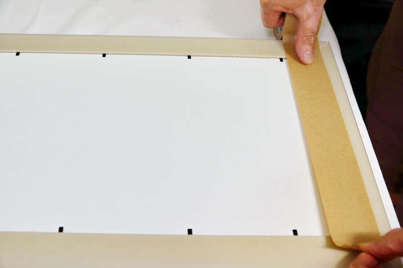 run framing tape along one side of the frame but do not let it touch the