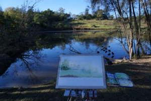 My plein air watercolour setup at Pughs Lagoon