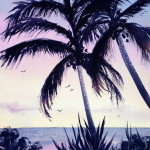 Watercolor painting for sale. Titled Bali Sunset 2. Price AUID$245