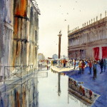 "Watercolor painting for sale. Titled ""St Mark's Plaza Flooding. Price AUD$600"