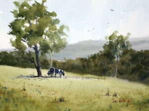 Watercolor painting by Joe Cartwright, titled North Richmond Farmland.